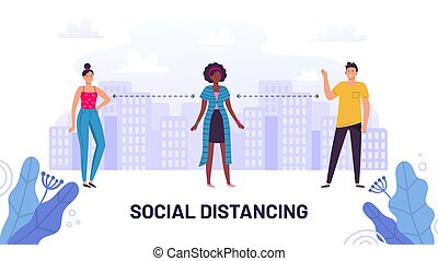 Social distancing, guide protective meter and prevent, stay ...