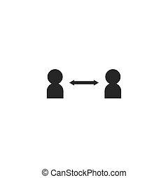 Social distancing icon vector illustration