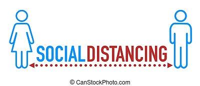 Social distancing icon with word. Coronavirus covid-19