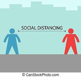Illustration vector design of social distance