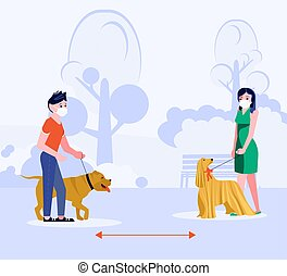 Social distancing in human society. People walking with dog keeping a distance. Concept of precautions epidemic outbreak and awareness. Flat Art Vector Illustration