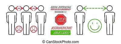 Social distancing infographics vector illustration