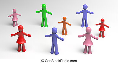 Social distancing, people keep distance sign. 3d illustration