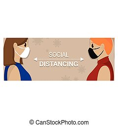 Social distancing poster. Covid-19 protection and prevention - Vector