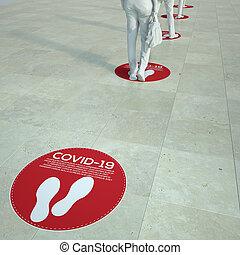 3D rendering of people standing in a queue with social distancing floor markers