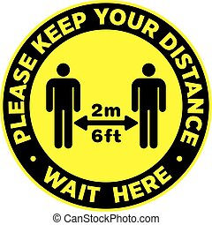 Social Distancing Signage or Floor Sticker for help reduce the risk of catching coronavirus Covid-19. Vector sign.