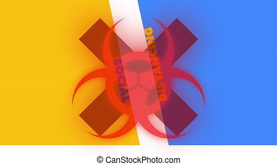 Social distancing text against biohazard and red cross sign
