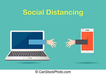 Social Distancing with the Crisis Concept COVID-19: having two hands from a mobile phone and a notebook computer to greet each other.