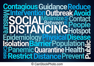 Social Distancing Word Cloud on Blue Background