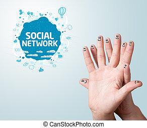 social, doigt, smileys, réseau, signe