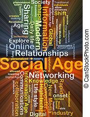 social, edad, plano de fondo, concepto, encendido