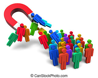 Social engineering concept: horseshoe magnet capturing crowd...