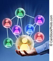 social, establecimiento de una red, -, conectado, burbujas