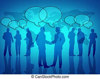 social, establecimiento de una red del negocio, con, global,...