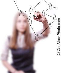 social, femme, concept, réseau, dessin
