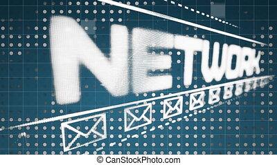 social, fond, icône, enveloppe, réseau, bleu, graphique