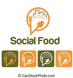 social food illustration and icon set