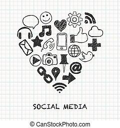 social, forme coeur, média, icônes