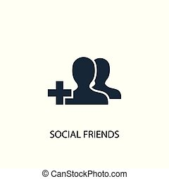 social friends icon. Simple element illustration. social friends concept symbol design. Can be used for web