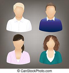 social, gens, icônes