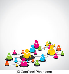 social, gente, colorido, ntework
