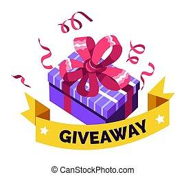 social, giveaway, media, gåvan boxas, gåva, ge sig, överraskning