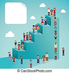 social, global, crecimiento, red, gente