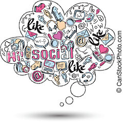 social, griffonnage, infographics, média