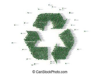 social, groupe, gens, média, concept., recyclage, symbole., illustration, grand, former, 3d