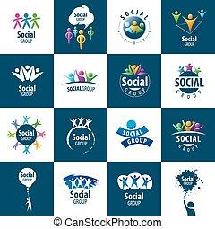 social, grupo, logotipos