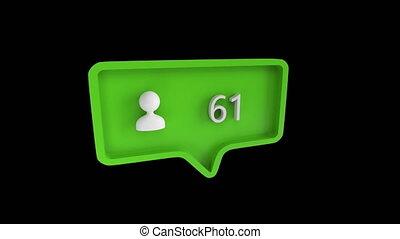 social, icône, suivre, nombres, média, augmenter