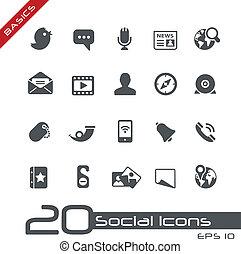 social, icônes, //, élémentsessentiels