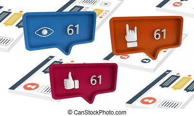 social, icônes, compte, média, augmenter