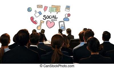 social, icônes, gens, regarder, business, média