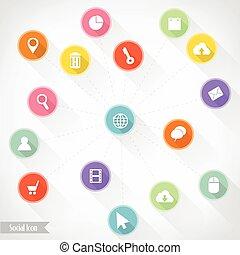 Social icon infographics, Vector illustration for banner, diagram, web design, infographic, presentation.