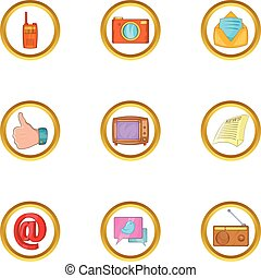 Social icon set, cartoon style