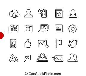 social, iconos de la tela, //, rojo, punto, serie