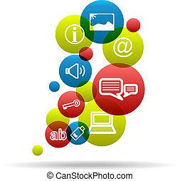 Social Icons Background. Internet symbol. Vector design...
