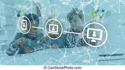 Animation of digital icons and network of connections over schoolchildren learning and working together at school. Education business social media network interface concept digital composite.