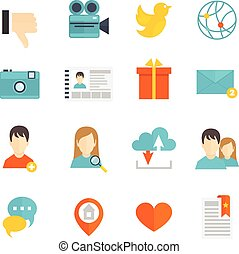 Social icons set flat