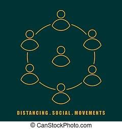 social, illustration, vecteur, distancing, simple, mouvement