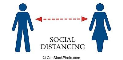 social, ilustración, concept., vector, distancia
