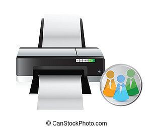 social, impressora, rede, ícone
