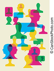 Multicolored bubbles and human heads interaction. Vector file available.