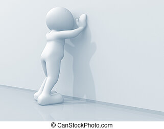 Social issue - 3d man leaning against wall - render...