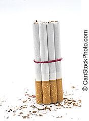 Social Issues - broken cigarette isolated on white...