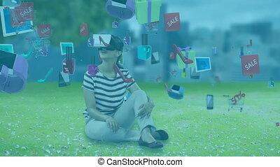 social, jardin, animation, caucasien, vr, casque à écouteurs, séance femme, icônes, flotter, porter