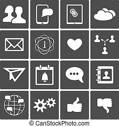 social, jogo, ícones