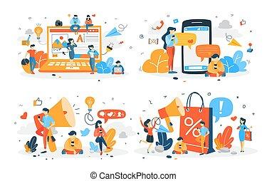 social, jogo, rede, conversando, pessoas