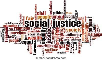 social, justice, mot, nuage